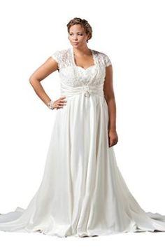 Sydney's Closet SC5036 Short Sleeve Plus Size Wedding Dress, Light Ivory, 28W - Sheer Cap Sleeves, Long A-Line Skirt; Train; Satin