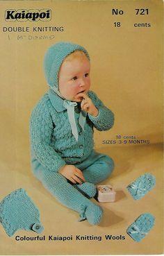 aa4cb4690334e Baby Pram Set Kaiapoi 721 knitting pattern DK yarn 3-9 months  Kaiapoi