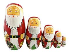Set of 5 Cutie Lovely Santa Claus Nesting Dolls Matryoshka Madness Russian Doll Popular Handmade Kids Girl Christmas Gifts Toy * You can find out more details at the link of the image.