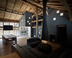 """Residential Architecture: Villa Solaire by JKA + FUGA: """"..Jérémie Koempgen Architecturetogether withFUGA, have redesigned a historical farmhouse in Morzine, France, so it can be used as a vacation rental.."""" Traditional chalet exterior conceals a contemporary interior with extensive glazing, interesting fenestration, abundant light; interesting interior volumes and materials; exposed timber rafters and beams.."""