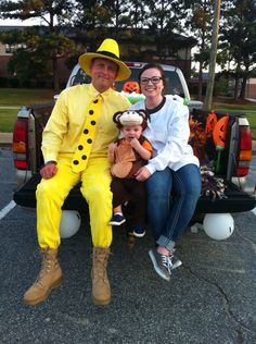 Curious George the Man in the Yellow Hat and Professor Wiseman. Family costume idea & DIY Halloween Costume: Man in the Yellow Hat from Curious George ...