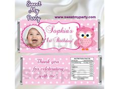 Pink Owl Candy Bar Wrappers with photo,Pink Owl Birthday Candy Bar Wrappers,(3)
