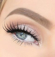 Bridal pink eyeshadow with eyelash extensions for blue eyes