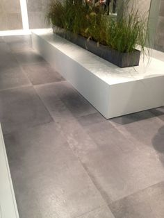 Large format concrete-effect porcelain tiles