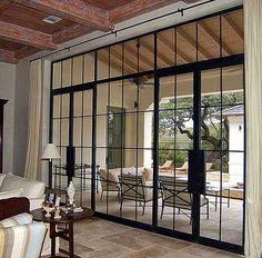 metal windows and doors Patio Interior, Interior And Exterior, Interior Design, Interior Doors, Steel Doors And Windows, Black Windows, Iron Doors, Iron Windows, Patio Doors