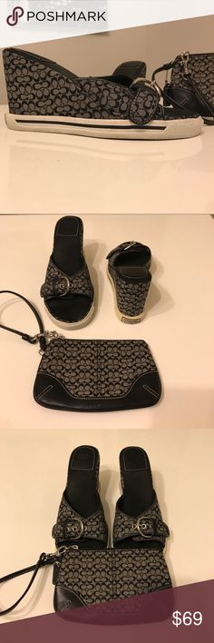 Coach Shoe and Wristlet Set Adele Mini Logo/Calf Wedge with matching wristlet. The shoes are in good condition but the soles are a little discolored (yellowish tint). Heel height 3.5 inches. The wristlet has some minor scuff marks as illustrated in the photo. No pockets in the wristlet. Small wristlet about 6.5 by 3.5 inches. Box included but no dust covers for shoes or wristlet (did not come with one). Coach Shoes Wedges
