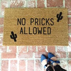 No Pricks Allowed! ***This is an original saying and design by Shop Josie B***  All orders placed after 11/22, will ship after January 1st, 2017.  18 x 30 rectangular Coir and Vinyl door mat for outdoor use. The mat is 9/16 of an inch thick. All mats are rolled up tight for the most cost effective way to ship. When your package arrives, unwrap the mat and lay flat so it can settle back to its original shape. It is not recommended to get the mat wet or for it to be in direct sunlight...