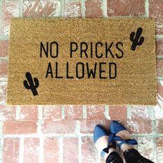 NEW! No Pricks Allowed Cactus Doormat 18x30 outdoor by ShopJosieB