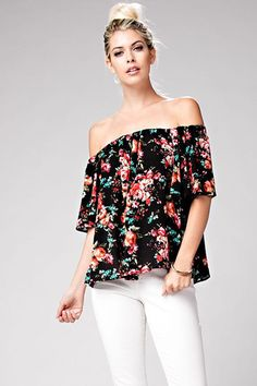 From the farmers marketto your favorite cocktail-sipping spot, you entertain others in the effortless style of this breezy, off shoulder blouse. We love this top because of its beautiful floral design and shoulder bearing silhouette.  Imported Model is wearing a Small'