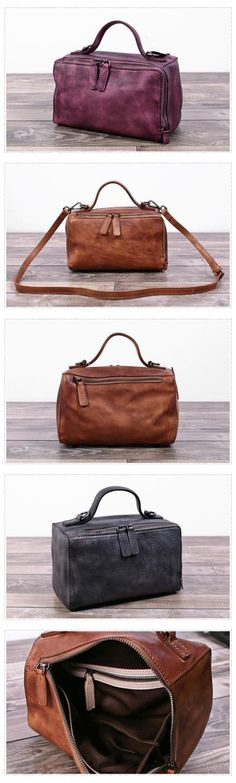 Handmade Full Grain Leather Cross Body Bag Large Doctor Bag We use genuine cow leather, quality hardware and nylon fabric to make the bag as good as it is. •Adjustable shoulder strap. •Inside zipper p