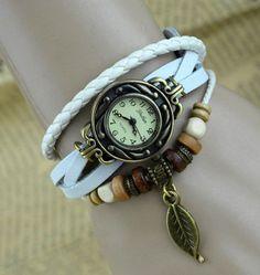 Leaf Charm White Color Women Ladies Weave Leather Belt Bracelet Watch Elite Charm, by www.AkisonShop.com