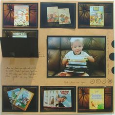 Scrapbook Layout - Toddler DVD Collection...I used hinge stickers under each matted wallet size photo and wrote where the DVD came from.