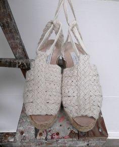 Vintage Open Toe Wedge Espadrilles / Ankle Straps by rileybella123, $35.00