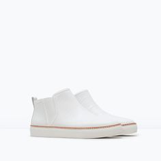 ZARA - WOMAN - LEATHER ANKLE BOOT WITH ELASTIC PANELS $99.90 I must have these!