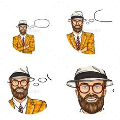 Vector pop art avatar, icon of handsome aged bearded man. Businessman, professional in costume and hat with bubble speech. Great f