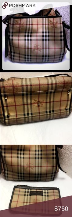 Burberry Haymarket large Tote bag 100% Authentic Burberry Haymarket large tote with makeup bag. This bag is in good condition. Makeup bag has some pin marks. 100% authentic purchased from Nordstrom $895 before tax at the time of purchase. Burberry Bags Shoulder Bags