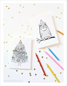 Free Christmas Cards to Color