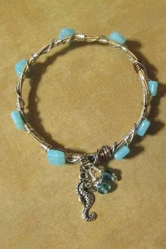 Seahorse Beaded Guitar String Bangle  (L) - pinned by pin4etsy.com