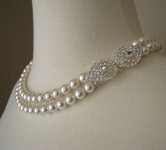 pearl necklace with clasp on side | Pearl Bridal Necklace The Grace Kelly by MercuryJane on Etsy