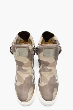 GIUSEPPE ZANOTTI Grey Leather Camo High-Top Sneakers.. These are next level dopeness!!!