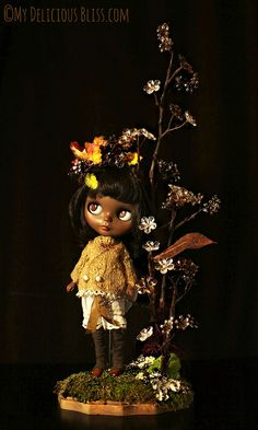 For adoption today Nov 17th, 12noon PST at www.mydeliciousbliss.etsy.com Autumn, Beautiful Brown Blythe Custom Art Doll |