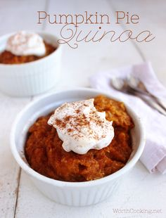Pumpkin Pie Quinoa- This quick breakfast has all the flavors of pumpkin pie in a healthy breakfast form. | WorthCooking.net