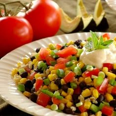 Fiesta Black Beans - Black beans, brown rice, fresh tomatoes, corn, and onions are tossed with seasonings and lemon make a light and delicious meal. Sliced avocado and corn chips accompany this colorful dish deliciously. - Jennifer's Kitchen Milk Recipes, Kitchen Recipes, Mexican Food Recipes, Great Recipes, Favorite Recipes, Yummy Recipes, Dinner Recipes, Healthy Lunches For Work, Healthy Eating