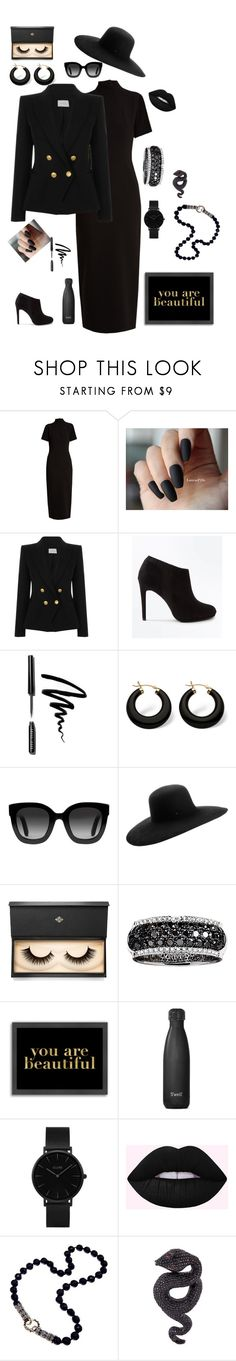 """Film Noir"" by vrowe ❤ liked on Polyvore featuring Emilia Wickstead, Pierre Balmain, New Look, Bobbi Brown Cosmetics, Palm Beach Jewelry, Gucci, Maison Michel, Lash Star Beauty, Effy Jewelry and Americanflat"
