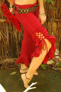 Tribal Bellydance Ruffle Pants-Red. $90.00, via Etsy.