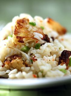 Thomas Keller's Ad Hoc Rice with Roasted Cauliflower. curried cauliflower is very flavorful and delicious mm