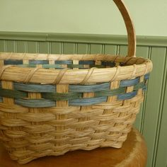 Items similar to Easter Basket - Blue & Green on Etsy Plant Basket, Bamboo Basket, Green Basket, Basket Weaving, Hand Weaving, Weaving Art, Marshmallow Peeps, Flat Shapes, Easter Bunny Decorations