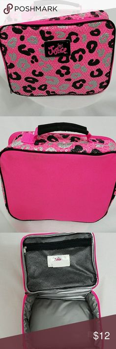 Justice lunch box Gently used Justice lunch box shows somewhere on the in side and on the back row seats on the table but nothing major has a zip pouch on the top zip closure all works fine sequin and glitter cheetah design very cute Justice Accessories Bags