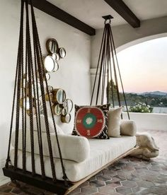 Create an inspiring and comfortable outdoor space with a porch swing daybed. You… Create an inspiring and comfortable outdoor space with a porch swing daybed. Home Interior Design, Interior Decorating, Decorating Ideas, Interior Modern, Room Interior, Modern Decor, Outdoor Beds, Outdoor Swings, Outdoor Furniture