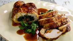 Jacques Pepin's Chicken Ballottine Stuffed with Spinach, Cheese and Bread Stuffing