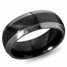 Mens Black Platinum Wedding Bands