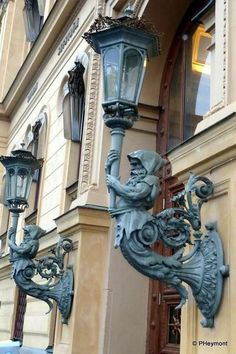 The Spires of Stockholm: Where Gumbo Was Wrought Iron Paint, Balcony Doors, Great Pic, Outdoor Wall Sconce, Stockholm Sweden, Architectural Elements, Atlantis, Home Lighting, Windows And Doors