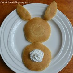 "10 Awesome Easter Ideas for Kids. I LOVE these simple ""bunny butt"" pancakes... and the rest of the ideas are fun too!"