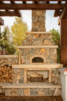 Pizza Oven With Outdoor Fireplace Shade Structure