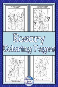 Rosary Coloring Pages Catholic Children, Catholic Religious Education, Catholic Crafts, Church Crafts, Catholic Prayers, Religious Art, Teaching Kids, Kids Learning, Religion Activities