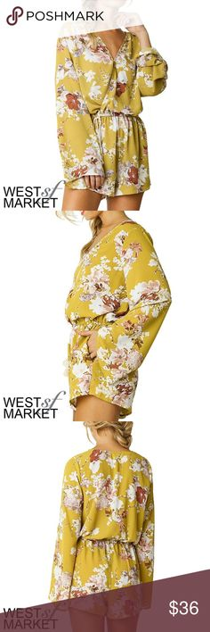 -COMING SOON- The Caitlin Floral Romper This romper's rich yellow tone is perfect to take on the upcoming seasons. Easily transformed from day to night with a pair of tights, the wrap-style v-neck and understated flare sleeves are sure to make a statement! West Market SF Pants Jumpsuits & Rompers