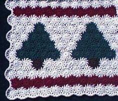 Primitive Pines Yo-Yo Afghan & Christmas Tree Skirt - free crochet pattern.