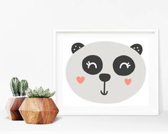 Critter Face Print - Panda Print, Printable Wall Art, 8x10 Kids Print, 8x10 Nursery Print, Printable Home Decor, 8x10 Print, Kids Bedroom by creamcityprintables on Etsy https://www.etsy.com/listing/536000773/critter-face-print-panda-print-printable