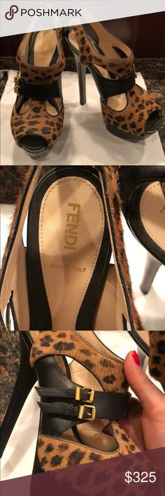 Authentic Fendi Platform Leopard Hair shoes in 7.5 Great condition Fendi leopard pony hair and black leather platform shoes. Gold buckle details and zip up back. Worn a few times. Comes from a smoke free home. NO TRADES OR LOW BALL OFFERS. Look at pictures for other details. Fendi Shoes Platforms