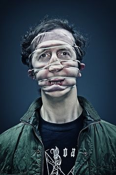 Rubber Band Portraits by Wes Naman Pictures) Band Photography, Portrait Photography, Wes Naman, Face Distortion, Face Wrap, Tastefully Offensive, Photo Images, A Level Art, Interesting Faces