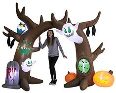 8 Feet Tall Scary Tree Archway Inflatable includes characters of ghosts, tombstone, pumpkins and more. It comes with an extended cord, ground stakes, fastened ropes, built-in sandbags, and a plug with UL certification. Bright built-in LED lights. Light up in the evening for the best attraction to neighbors and guests. Fete Halloween, Halloween Skeletons, Outdoor Halloween, Halloween 2020, Halloween Nails, Halloween Crafts, Halloween Costumes, Halloween Recipe, Women Halloween