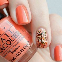 Trendy Manicure Ideas In Fall Nail Colors;Orange Nails; Fall Nai… Trendy Manicure Ideas In Fall Nail Colors;Orange Nails;