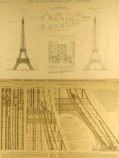 """Planos de Eiffel. Eiffel patenta los primeros planos junto a Koechlin y Nouguier en septiembre de 1884, para poco después comprar a éstos su parte de los derechos de la idea. El siguiente paso es convencer al ministro de Comercio del momento, Lockroy, para que convoque un concurso para la construcción de """"una torre de 300 metros"""" para la Exposición Universal de 1889. El planteamiento oficial se parece mucho al de Eiffel, pero se presentan más de 100 proyectos, aunque finalmente es eleg Paris Torre Eiffel, Paris Eiffel Tower, Charles Eames, Autocad, Arch, Tours, France, History, Building"""