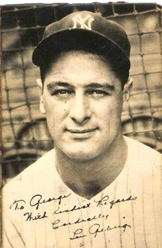 Lou Gehrig Yankees Baseball Signed Autograph Photo
