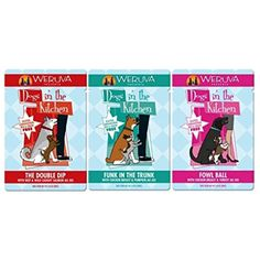 Weruva Dogs In The Kitchen Grain Free Dog Food 3 Flavor Variety 9 Pouch Bundle: (3) Funk In The Trunk, (3) The Double Dip, and (3) Fowl Ball, 2.8 Oz. Ea. (9 Pouches Total) @@ You can find out more about the great product at the image link. (This is an affiliate link and I receive a commission for the sales)