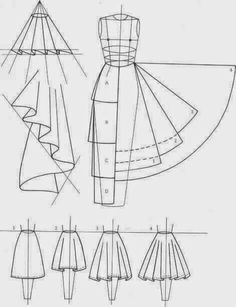 skirts. Love the visual between the pattern shape and the way it drapes. A line, 1/2 circle, 3/4 circle, full circle pattern piece. 30, 45, 60 90 degrees cut on fold pattern piece.